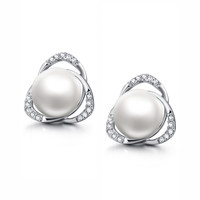 Sterling Silver Round Freshwater Cultured Pearl and Cubic Zirconia Stud Earrings