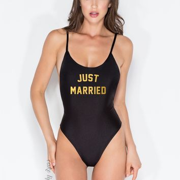 JUST MARRIED One Piece - Swimsuit -  Monokini - white - Black - Cake Life®