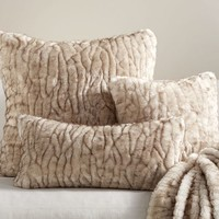 Gathered Faux Fur Pillow Cover - Ivory Tipped