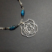 Handmade Black, Blue and Silver Rose Pendant Necklace from NotionsN'Potions