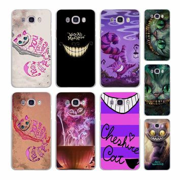 anime Cheshire Cat alice in wonderland pattern hard White phone Case cover for Samsung J510 J710 J5 J7(2017) J3 J1 J2Prime J7Pri