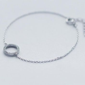 Shinny real. 925 sterling silver jewelry clear white CZ AAA+ stone set Lucky Circle Round Chain Bracelet charm GTLS350