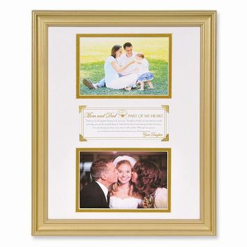 Part of Heart Daughter to Parents Double Gold Finish Photo Frame