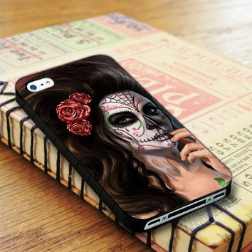 Girl Floral Sugar Skull Day Of The Dead iPhone 4   iPhone 4S Case