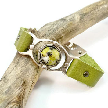 Green Leather Bracelet, Ryolite Gemstone, Leather Bracelet, Gift for Her, Silver and Leather, Green Leather