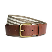 H&M - Casual Striped Belt, Khaki Green