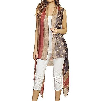 Patriotic USA American Flag Cover Up Vest