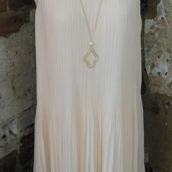 Beige Accordion Dress With Chiffon Layer