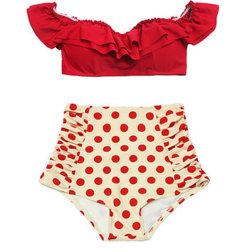 Red Off the Shoulder Cutout Double Layered Frill Bra Top and Cream Polka dot dots High waist waisted Bottom Bikini Swimsuit Bathing suit S M