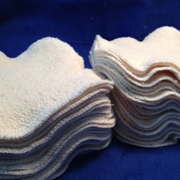 Make-up Remover Pads, Organic Single Layer Face Wipes, Set of 12, 4 x 4 inches, Pick the fabric and edge color