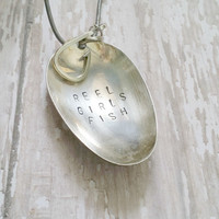 Spoon Pendant Necklace / Hand Stamped Jewelry / Fishing Jewelry / Upcycled Jewelry / Sterling Silver / Silverware Jewelry