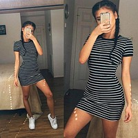 Summer Fashion Kylie Jenner Short Sleeve Black And White Striped Dresses Casual Elegant Sheath Slim Dress