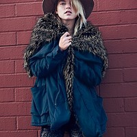 Free People Womens Sweet Child Fur Hooded Parka - Navy