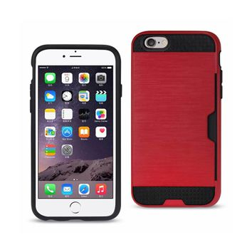 New Slim Armor Hybrid Case With Card Holder In Red For iPhone 6 Plus