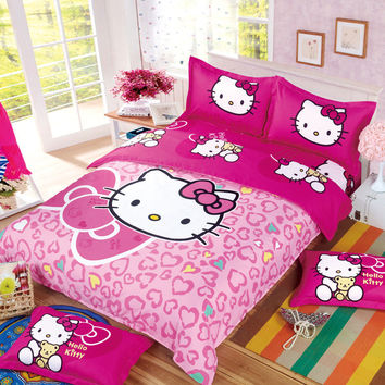 Kids Adults Cartoon Hello Kitty Minions Mermaid Bedding Set 3/4pcs Duvet Cover BedSheet Pillowcase Twin Full Queen Free Shipping