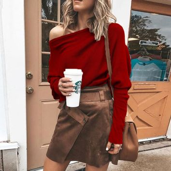 One Shoulder Batwing Sleeve Knit Sweater