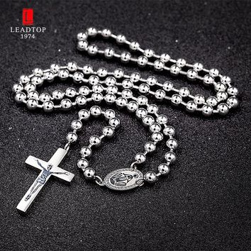 Communion Rosary Long Catholic Necklace with Rosary Crucifixes,Stainless Steel 6mm Prayer Beads Religious Jewelry Mens Rosary