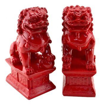 Chinese Contemporary Fu Temple Dogs Statue in Red