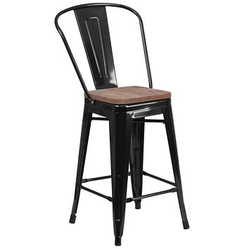 Textured Wood Seat With Bistro Style Counter Stool