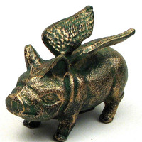 Cast Iron Flying Pig Bank