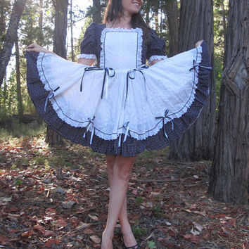 Vintage Square Dance Dress or French Maid Costume, Black & White Eyelet Ribbons