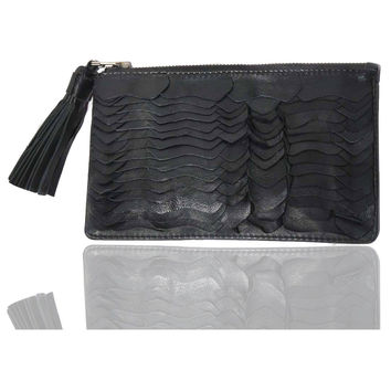 Leather Ladies Python Scales Clutch Bag