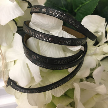 """""""You Are Beautiful..."""" Wrap Around Good Works Bracelet in Charcoal"""