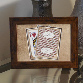 Bellagio Las Vegas 5x7 Queen of Hearts Authentic Playing Card Display Matted FRAMED DIE CUT nf3019