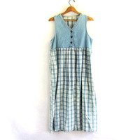 Vintage Blue Plaid Denim Jean Jumper Dress / women's size