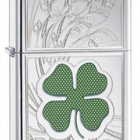 Zippo Clover Lighter, High Polish Chrome Engraved