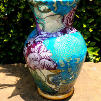 Colorful Lokta Paper Decoupage on Glass Vase by cutelittlecanvases