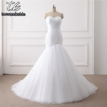 New Arrival Ruched Tulle Mermaid Wedding Dress Lace Up White Ivo fb663571a5c1
