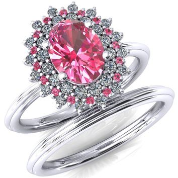 Eridanus Oval Pink Sapphire Cluster Diamond and Pink Sapphire Halo Wedding Ring ver.1