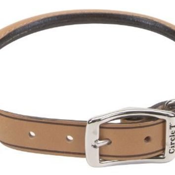 "Coastal Pet Products Circle T Oak Tanned Leather Round Dog Collar, 3/4"" x 18"", Tan"