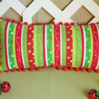 Christmas Pillow in Red  Green  and White Stripes