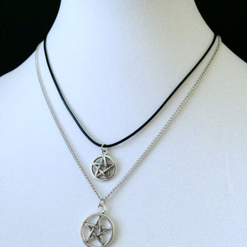 Pentagram Necklace, Pentacle Pendant, Witchy Jewelry, Gothic Jewelry, Grunge Necklace, Pentagram Set, Wiccan Necklace, Silver Pentagram