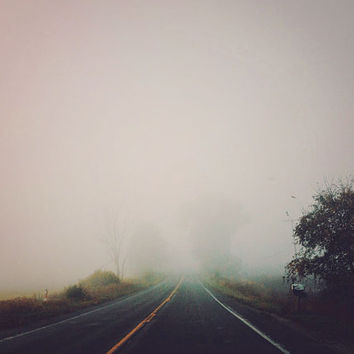 SALE Photography, Foggy, Country Road, Eerie, Rustic, Winter Photo, Violet, Gray, Home Decor, Autumn, Dreamy