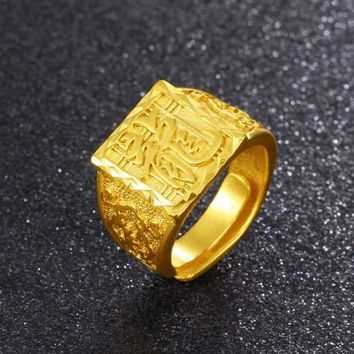 Vintage Buddhism Dragon Male Ring Copper Retro Male Vietnam Alluvial Gold Ring Man Rings Jewelry