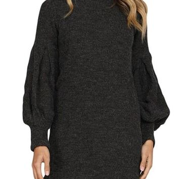 Winter Black Corduroy Ribbed High Neck Mini Dress