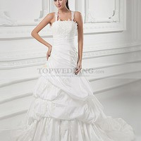 Straps Taffeta A Line Bridal Gown with Beaded Applique Details and X Back