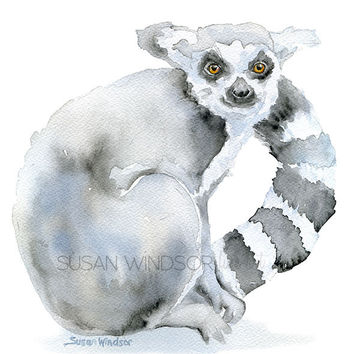 Lemur Watercolor