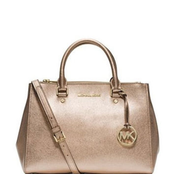 Michael Michael Kors Sutton Medium Metallic Saffiano Satchel