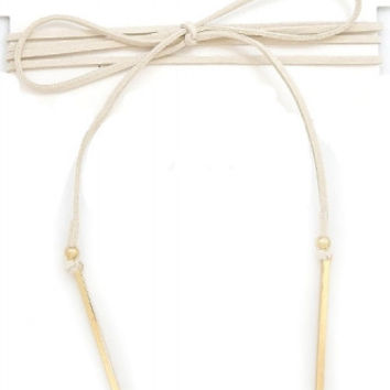 WRAP AROUND SUEDE CHOKER NECKLACE WITH METAL BAR PENDANTS - IVORY