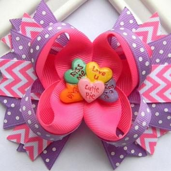 Valentine Hair Bow - Conversation Hearts Boutique Hair Bow - Ready to Ship
