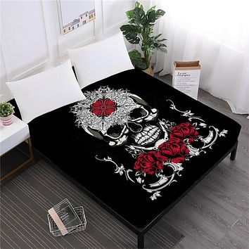 Skull Fitted Sheet Flowers Mattress Cover