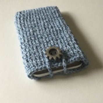 Crocheted IPhone 6plus pouch, I phone 6 plus sleeve, gray I phone 6 plus pouch
