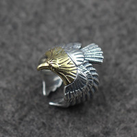 BSL Fine Jewelry Mens Silver Eagle Rings Unique Vintage Solid 925 Sterling Silver Cuff Ring Accessories