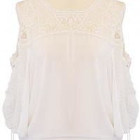 Angelic Nature 3/4 Sleeve Cold Shoulder Crochet Top in White | Sincerely Sweet Boutique