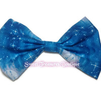Blue moon fabric hair bow great for sock bun or messy bun - fabric hair bow for teens or little girls - pin up hair bow - hair clip