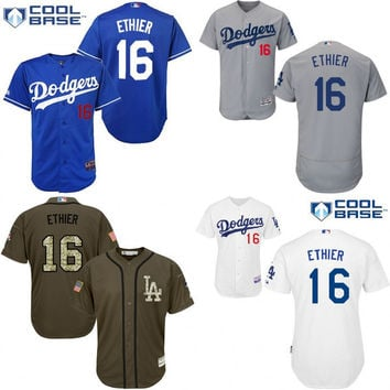 Grey Andre Ethier Authentic Jersey , Men's #16 Los Angeles Dodgers Cool Base Road Flexbase Collection